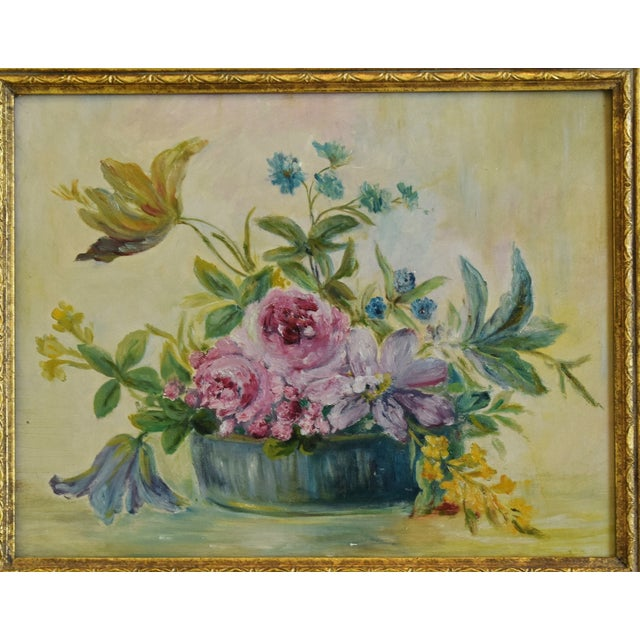 Abstract Early 1900s Colorful Floral Tablescape Still Life Oil Painting For Sale - Image 3 of 9
