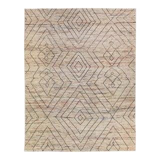 Modern Moroccan Style Beige Handmade Bohemian Pattern Wool Rug For Sale