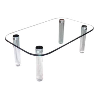 Rectangular Glass Top Lucite Cilinder Legs Coffee Table For Sale