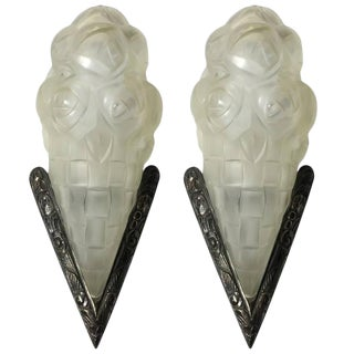 Degue Signed French Art Deco Sconces - a Pair For Sale