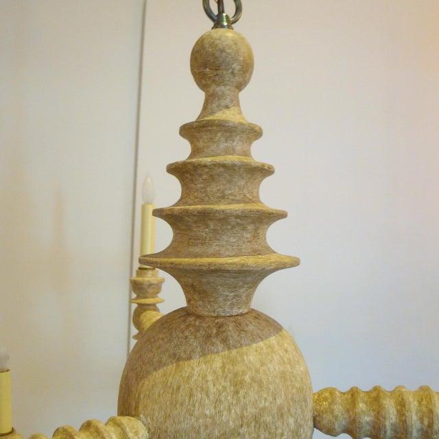 Paul Marra Paul Marra Spool Chandelier Two Tier in Driftwood For Sale - Image 4 of 5