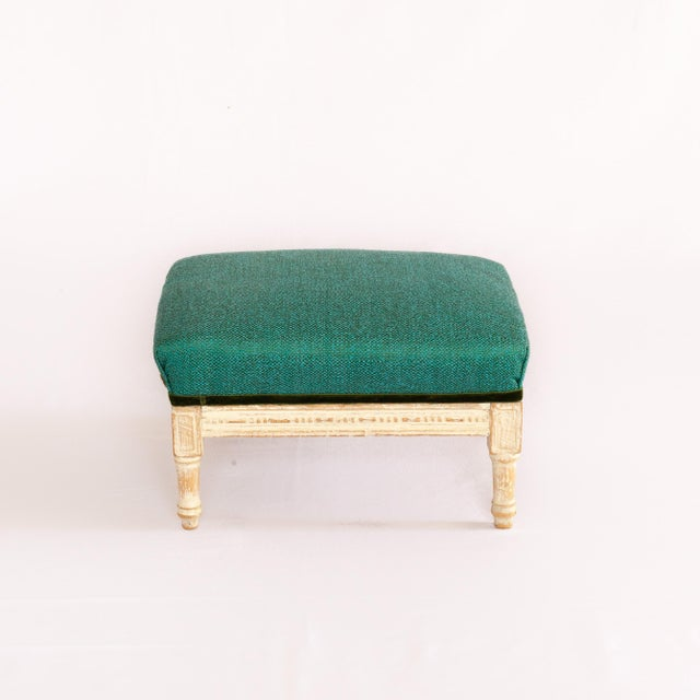 """""""Emeraude"""" by SidebySide As an emerald gemstone, the Emeraude footstool shimmers in teal on a white patina wooden base...."""