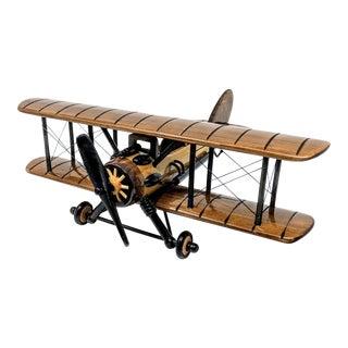 Vintage Style Wooden Propeller Plane Model For Sale