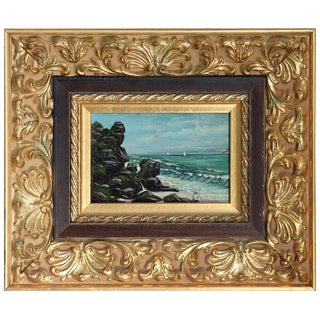 20th Century Oil Painting on Zinc Table Landscape of the Italian Coast For Sale
