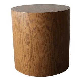 Vintage Oak Drum Pedestal Side Table For Sale
