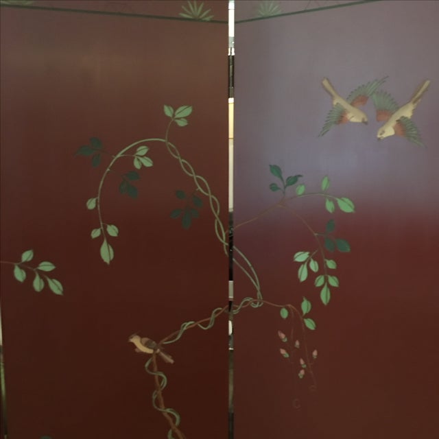 Signed Mid Century Modern Maitland Smith Four-Panel Asian Themed Wood & Brass Screen - Image 4 of 11