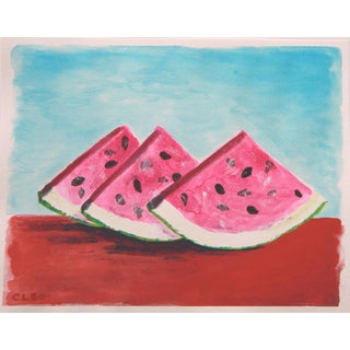 Still Life Fruit Watermelon Painting by Cleo For Sale