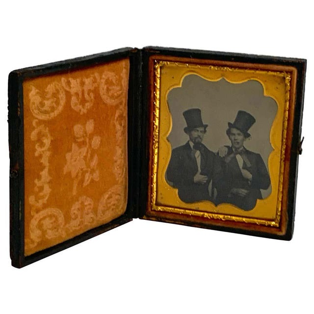 Daguerreotype Portrait of Two Men Embracing, Smoking With Ties and Top Hats For Sale - Image 11 of 11