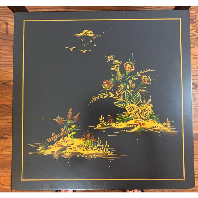 1940s Japanese Black Lacquer Nesting Table With Hand Painting - Set of 3 For Sale - Image 9 of 13
