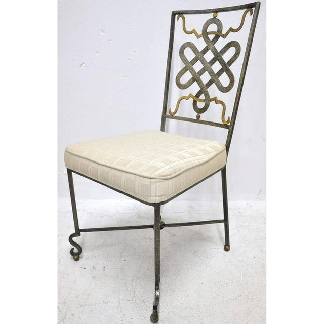 Neoclassical Mid-20th Century French Painted Iron Chairs With Fabric Cushions - Set of 6 For Sale - Image 3 of 7