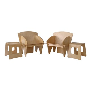 Vintage Puzzle Lounge Chairs and Side Tables - Set of 4 For Sale