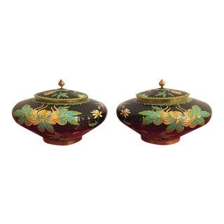 Vintage Cloisonné Lidded Jars - a Pair For Sale