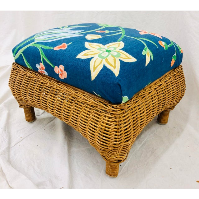 Stunning Vintage Woven & Wrapped Wicker Foot Stool Ottoman. Cushion Top, Upholstered in Vintage Floral Fabric. Original...