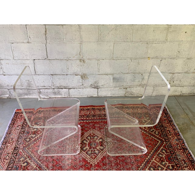 Mid Century Modern Lucite Chairs, a Pair For Sale - Image 4 of 11