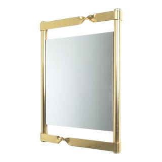 Floating Midcentury Brass Mirror With Twisted Frame, Italy, Circa 1970 For Sale