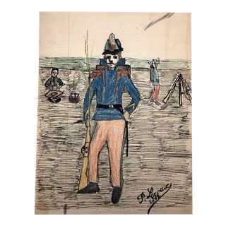 French Soldier at Camp, Mixed Media Drawing by Pierre Albert Leroux - 1908 For Sale