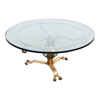 Vintage Gilded Wrought-Iron Round Low Table With Heavy Glass Top For Sale
