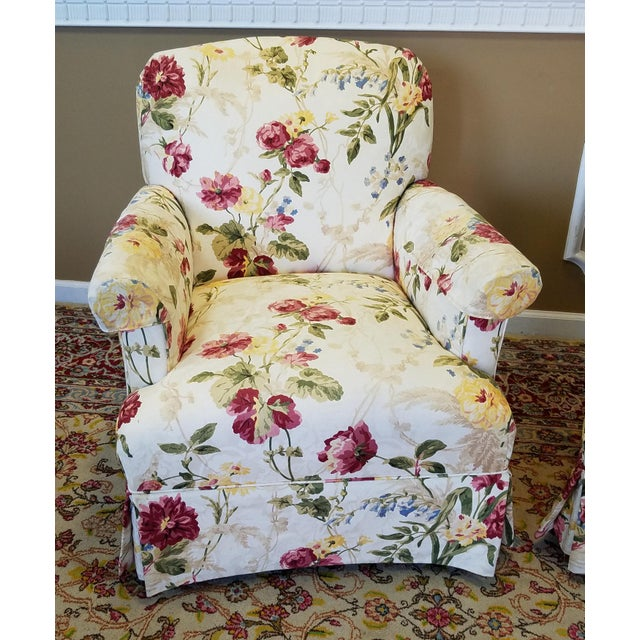 Ethan Allen Floral Upholstered Armchairs #20-7555- a Pair - Image 6 of 11