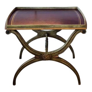 Minton-Spidell Curule Leg and Leather Top York Tray Table For Sale