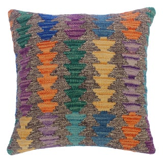 "Concetta Gray/Purple Hand-Woven Kilim Throw Pillow(18""x18"") For Sale"