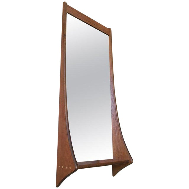 1960s Vintage Walnut Entry Mirror For Sale