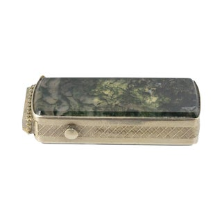 Mid 19th Century Vintage Silver & Moss Agate Victorian Matchsafe For Sale