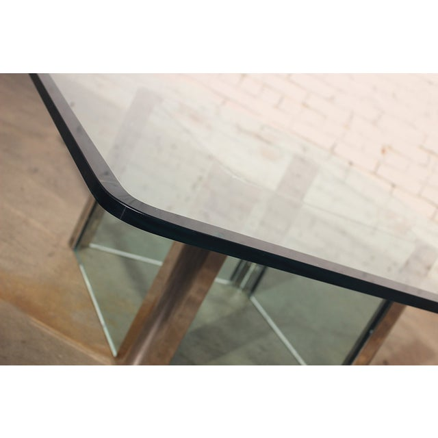 Transparent Pace Collection Chrome & Glass Square Coffee Table For Sale - Image 8 of 11