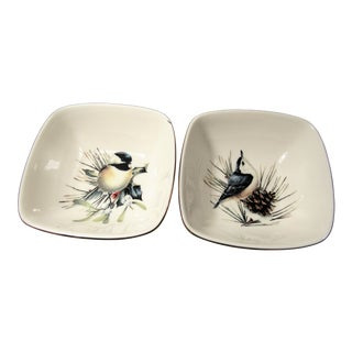 Late 20th Century Lenox Chickdee Collection Winter Greeting Dishes- A Pair For Sale