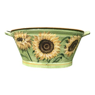 Antique Painted Sunflowers on Footbath For Sale