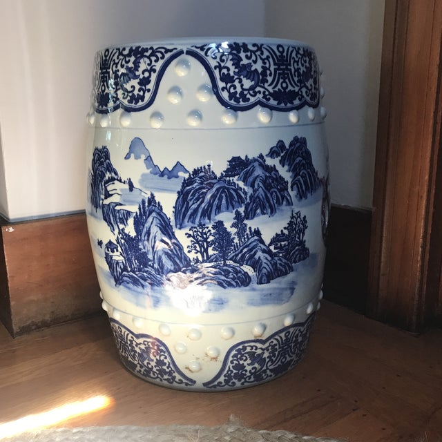 Vintage Chinese Blue & White Porcelain Garden Stool For Sale - Image 4 of 8