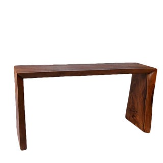 Organic Modern Hardwood Water Fall Living Edge Console Table For Sale