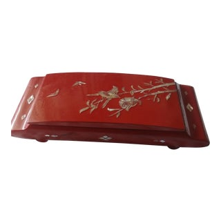 Late 20th Century Red Lacquer Mother of Pearl Inlay Ink Box For Sale