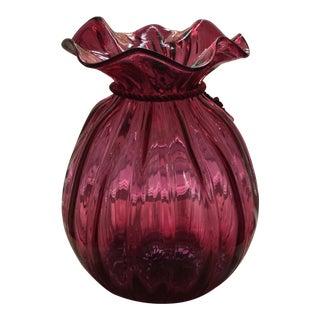 Vintage Cranberry Glass Vase For Sale