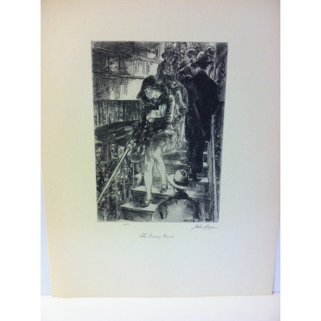 """This is a Simon and Schuster Famous American Print Reproduction that is titled """"Subway Stairs"""" by John Sloan. This print..."""