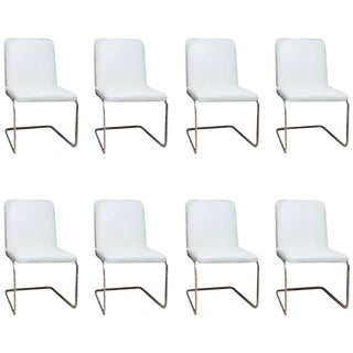 Brueton Chrome Cantilevered Dining Chairs - Set of 8