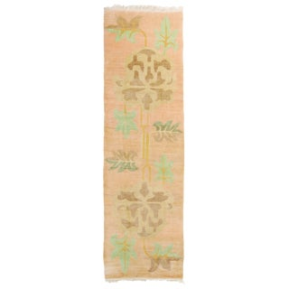 Contemporary Beama Design Geometric-Floral Beige and Blue Wool Runner - 3′3″ × 10′10″ For Sale