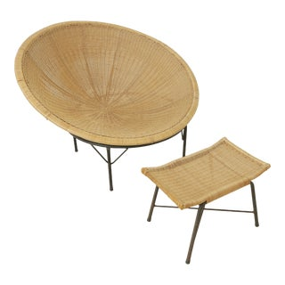 Mid Century Circular Rattan Chair and Ottoman For Sale