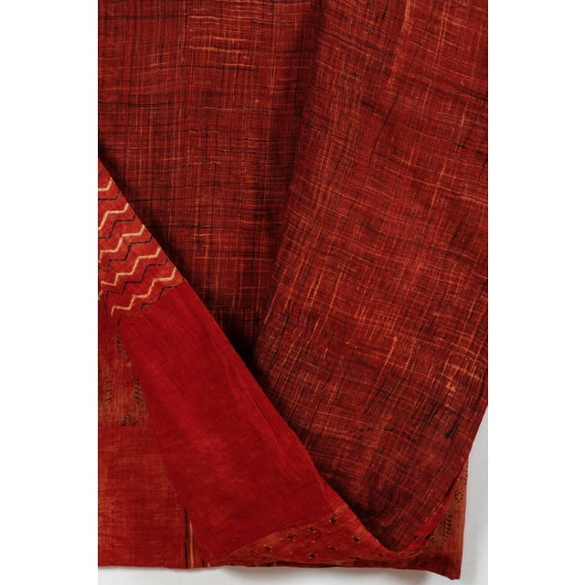 Indian Red Quilted Cotton Bedcover For Sale - Image 4 of 5
