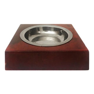Aldo Tura Red Lacquered Goatskin and Nickel Ashtray For Sale