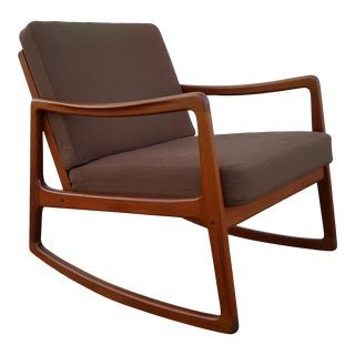 Ole Wanscher for France and Sons Danish Teak Rocking Chair For Sale