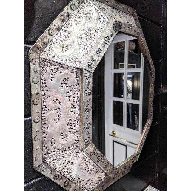 1960s Vintage Moroccan Metal Mirror For Sale - Image 4 of 6