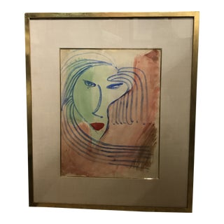 Vintage Mid Century Abstract Facial Watercolor Painting For Sale