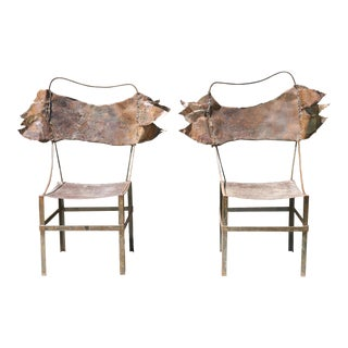 Rustic Metal Chairs - a Pair For Sale