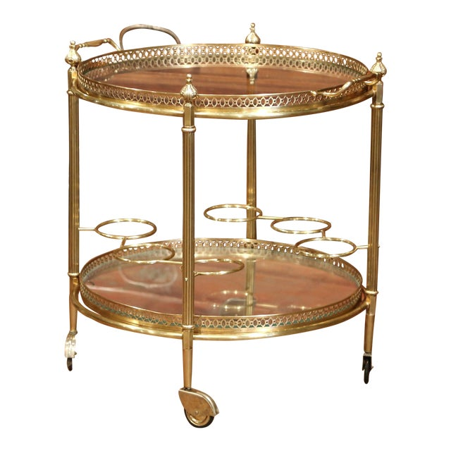 Early 20th Century French Two-Tier Brass Desert Table or Tea Cart on Wheels - Image 1 of 9