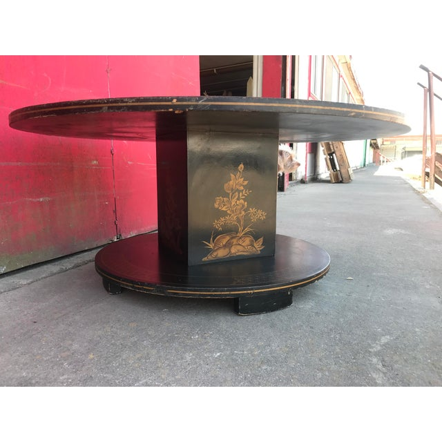 Painted Retro Coffee Table: Vintage 60s Hand-Painted Black Lacquer Pedestal Coffee