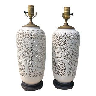 1950s Blanc De Chine Asian Table Lamps - a Pair