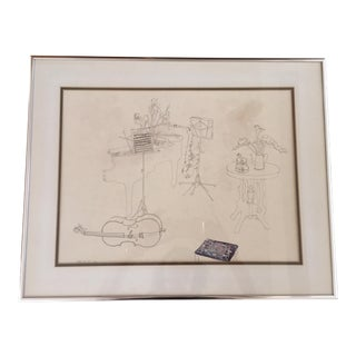 "Vintage Modernist ""Musical Instruments"" Line Art Drawing Signed Millient Tomkins For Sale"