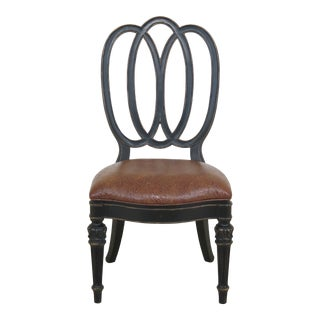 Thomasville Black Decorated Leather Seat Side Chair For Sale