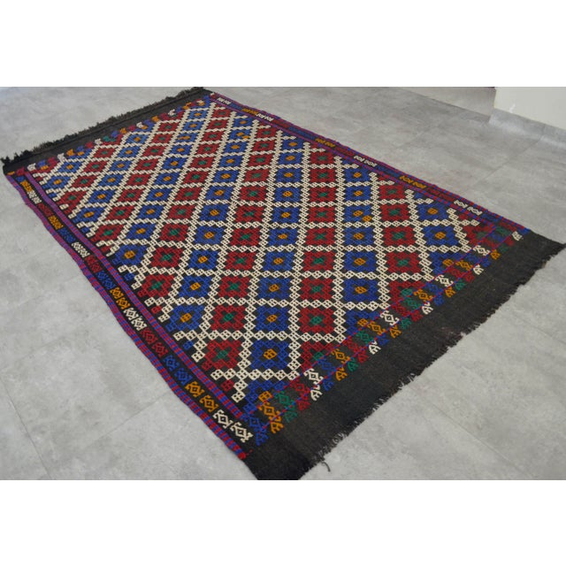 """Hand-Woven Rug Kilim Braided Nomadic Rug - 5' X 8'4"""" For Sale In Raleigh - Image 6 of 12"""