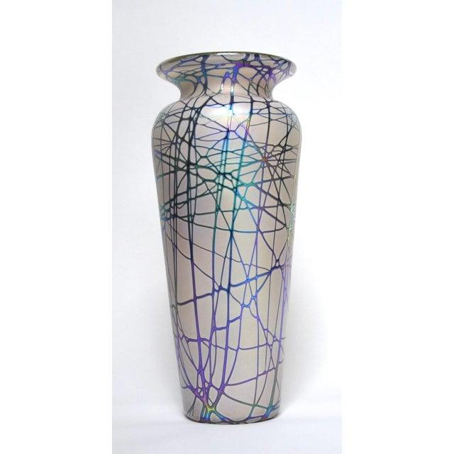 Large Stuart Abelman Studio Glass Iridescent Vase For Sale In Los Angeles - Image 6 of 6